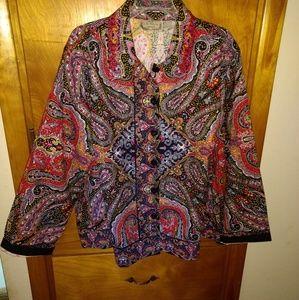 A Plus Size Multi Colored Paisley Jacket/Blouse